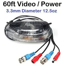 60ft Video and Power cable 3.3mm 13 oz diameter thick, use for BNC Cameras (603)