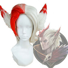 League of Legends LOL RAKAN Men's Silver Mix Red Cosplay Full Wigs with 2 Ears