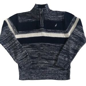 Nautica Boys Size 7 LG Sweater Cotton Pullover 1/4 Zip Navy Blue White Marled