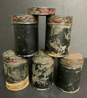 Antique Vtg~TOLEWARE~Painted~Tin Spice Set of 5 Five Canisters