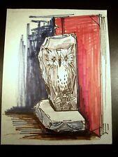 Resting Owl 1946-1959 Original Ink & Marker Sketch By C. Schattauer Kelm