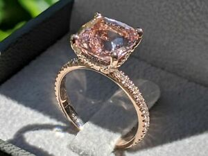 2.50Ct Cushion Cut Peach Morganite Solitaire Engagement Ring 14K Rose Gold Over