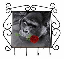 Gorilla with Red Rose in Mouth Wrought Iron Key Holder Hooks Christmas , AM-6RKH