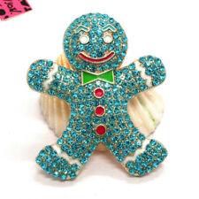 Hot Betsey Johnson Blue Rhinestone Cute Gingerbread Man Crystal Brooch Pin Gifts