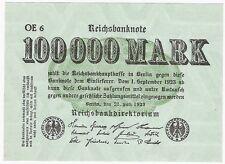 Alemania 100000 Mark 1923 P-91a Reichsbanknote UNC Billete de inflación