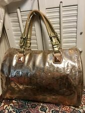 Michael Kors Grayson Gold Mirror Finish Speedy Boston Satchel Distressed