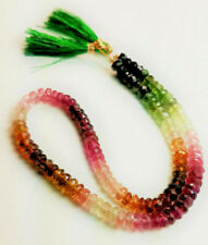 Grade AAA Natural Faceted Tourmaline Rondelles, 4 mm,  9.5-inch strand