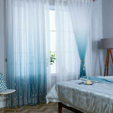 Gradient Embroidered Curtain Fabric Voile Gauze Window Panel Drape Blue