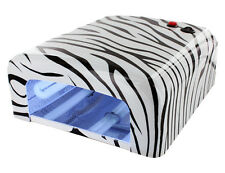 36W Zebra UV Gel Nail Art Lampada Asciugatrice LUCE Gel Cura Timer +4 x 9W Lampadine