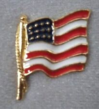 New listing Usa American Flag Brooch Pin; Gold Plate, Great 4th of July, Made in Usa New