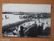 R&L Postcard: Folkestone Harbour 1912, Steam Paddle Ship, Rowing Boats etc