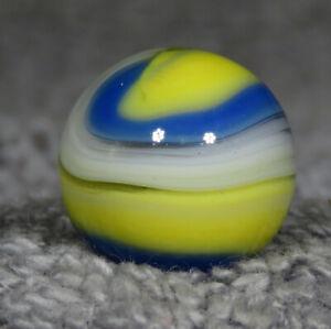 "AKRO AGATE  BLUE & YELLOW UV POPEYE MARBLE 21/32""  0.651""   MINT    DB5"