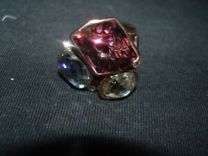 Rose gold 925 Sterling Silver rhinestones cocktail ring size 8
