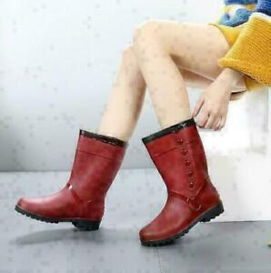 UK  Ladies Winter Warm Rain Boots Chelsea Ankle Wellies Wellington Women' Boots