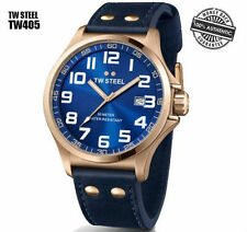 TW Steel Pilot TW405 Blue Dial Rose Gold PVD Stainless Steel Blue Leather Men's