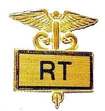 RT Respiratory Technician Tech Pin Medical Gold Inlaid Caduceus 3504G New