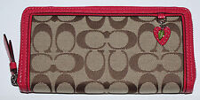Coach Khaki With Fuchsia Trim Strawberry Charm Zip Around Wallet  F48781*REDUCED