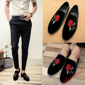 Mens Suede Loafers Shoes Rose Embroidered Slip On Casual moccasin Formal Shoes