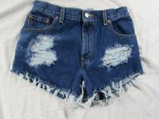 "Womens 30"" Zipper Fly Levi Cut Off Denim Shorts Daisy Duke Jeans Distressed"