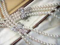 VINTAGE DOUBLE SIDE CLASP Three Strand Faux Pearl Elizabethan Revival NECKLACE