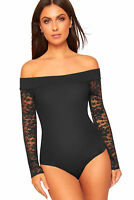Ladies Off Shoulder Bardot Lace Long Sleeve Stretch Bodysuit Leotard Party Top