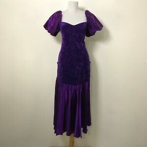 Vintage 1980s Prom Dress Size M Purple Puffed Sleeves Hourglass Discoloration