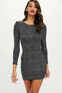 Missguided Ladies 10 Dress Sparkly Black Bodycon Shoulder Pads Party BRAND NEW