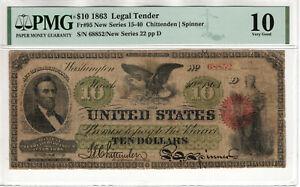 1863 $10 LEGAL TENDER NOTE FR.95 CHITTENDEN SPINNER PMG VERY GOOD VG 10 (68852)