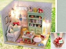 New Lazy Time Dollhouse Miniature DIY Kit w Cover andToy doll house +GIFT