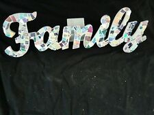 Mosaic word FAMILY, handmade and one of a kind