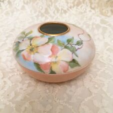 New ListingT&V Limoges Antique Hand Painted Pink Floral Hair Receiver