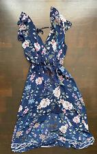 Maurices Navy Blue Floral Print Chiffon Dress Womens XS NWT