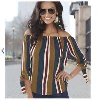New! K. Jordan Women's Stripe Off The Shoulde  Top Size M