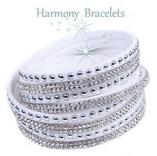 White Swarovski Elements Wrap Slake Bracelet by Harmony Bracelets