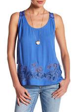 MISS ME Women's NWOT Blue Lace Split Back Tank Top Size XS