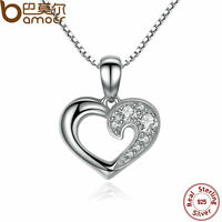 Bamoer love Jewelry S925 Sterling Silver Heart Necklace with Clear CZ For Women