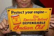 New ListingIndian Motorcycle Motor Oil Gas Oil Porcelain Metal Sign
