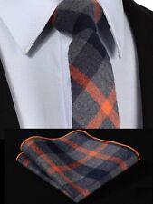Mens scottish tartan cravate laine set-skinny slim gris orange bleu-free hanky