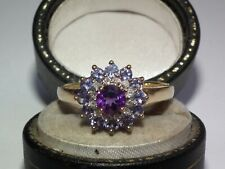 Beautiful, Solid 9ct Gold Natural Amethyst Tanzanite & Diamond Cluster Ring