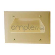 Wall Plate 3 Triple Gang Recessed Low Voltage Cable Decora Lite Almond Pack NEW