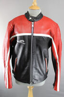 MAAKSON RACING/SPORTS BLACK, RED & WHITE COWHIDE LEATHER BIKER JACKET 38 INCH