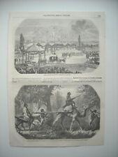 GRAVURE 1856. INAUGURATION CHEMIN DE FER DE SARRAGOSSE. HABITANTS DE KERY REDUIT