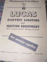 LUCAS MAINTENANCE INSTRUCTIONS (ELECTRIC LIGHTING & IGNITION EQUIPMENT)