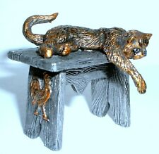 """PEWTER HAND MADE MINIATURE FIGURINE """"CAT ON THE BENCH"""" STATUETTE"""