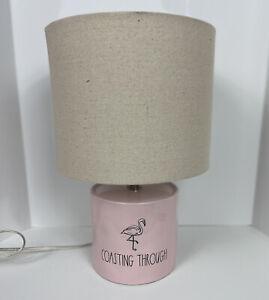 New Rare HTF Rae Dunn Artisan Flamingo Coasting Through Pink Table Lamp