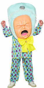 Crying Baby Big Head Costume Mens Womens Fancy Dress Oufit Stag Do