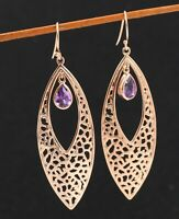 925 Sterling Silver Jewelry Amethyst Gemstone Long Marquise Shape Drop Earring