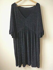 New Ex Evans Black+Sliver Sparkle Stretchy Smock Tunic/Dress Plus Size 16-26/28