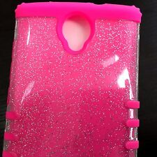 For ZTE ZMAX 2 (Z958) - Hybrid Armor High Impact Case Cover Pink / Clear Glitter