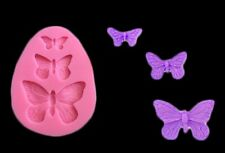 BUTTERFLY SILICONE MOULD-3 BUTTERFLIES MOLD-FONDANT/RESIN -CAKE TOPPER CUPCAKE